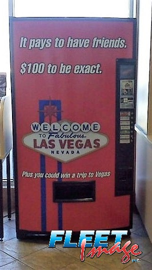 Decal sticker on a vending machine