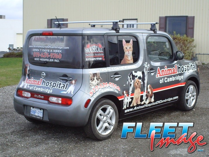 Vehicle with an Animal Hospital of Cambridge decal sticker