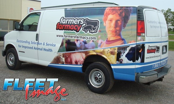 Vehicle with a farmers farmacy decal sticker