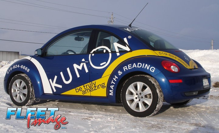 Vehicle with a KUMON decal sticker