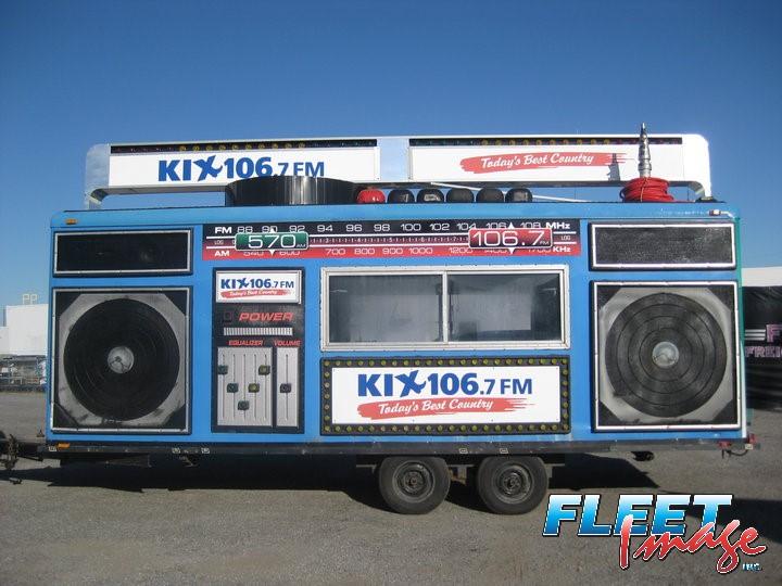KIX 106.7 FM decal sticker on a truck