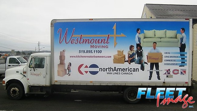 Westmount Moving decal sticker on a truck