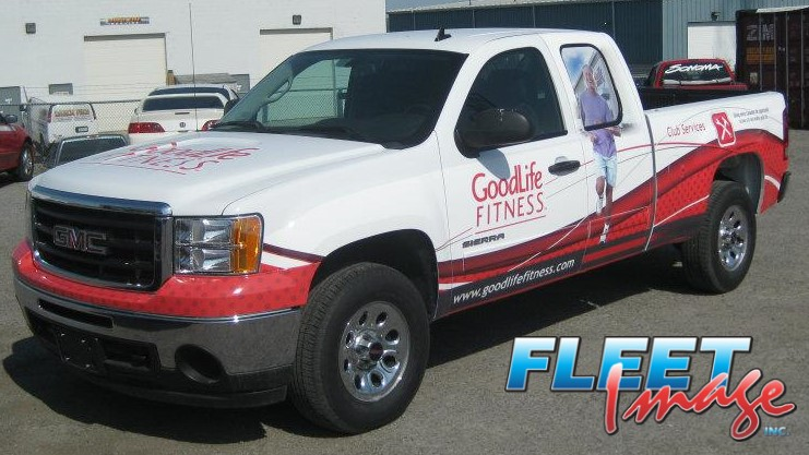 Vehicle with a Goodlife Fitness decal sticker