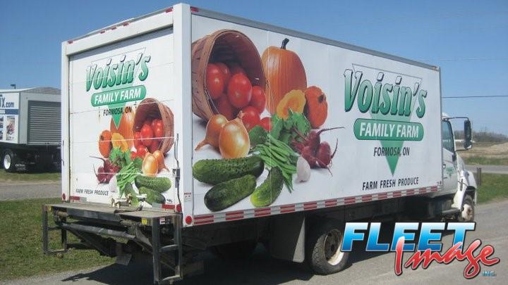 Voisin's Family Farm decal sticker on a truck