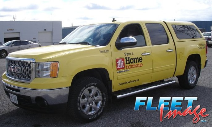 Vehicle with a Sam's Home Hardware decal stickerVehicle with a Sam's Home Hardware decal sticker