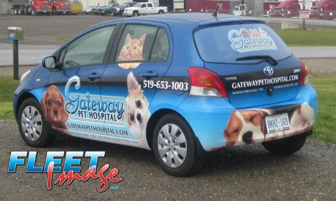Vehicle with a Gateway Pet Hospital decal sticker
