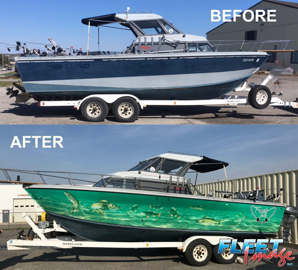 Before and afterCastell boat