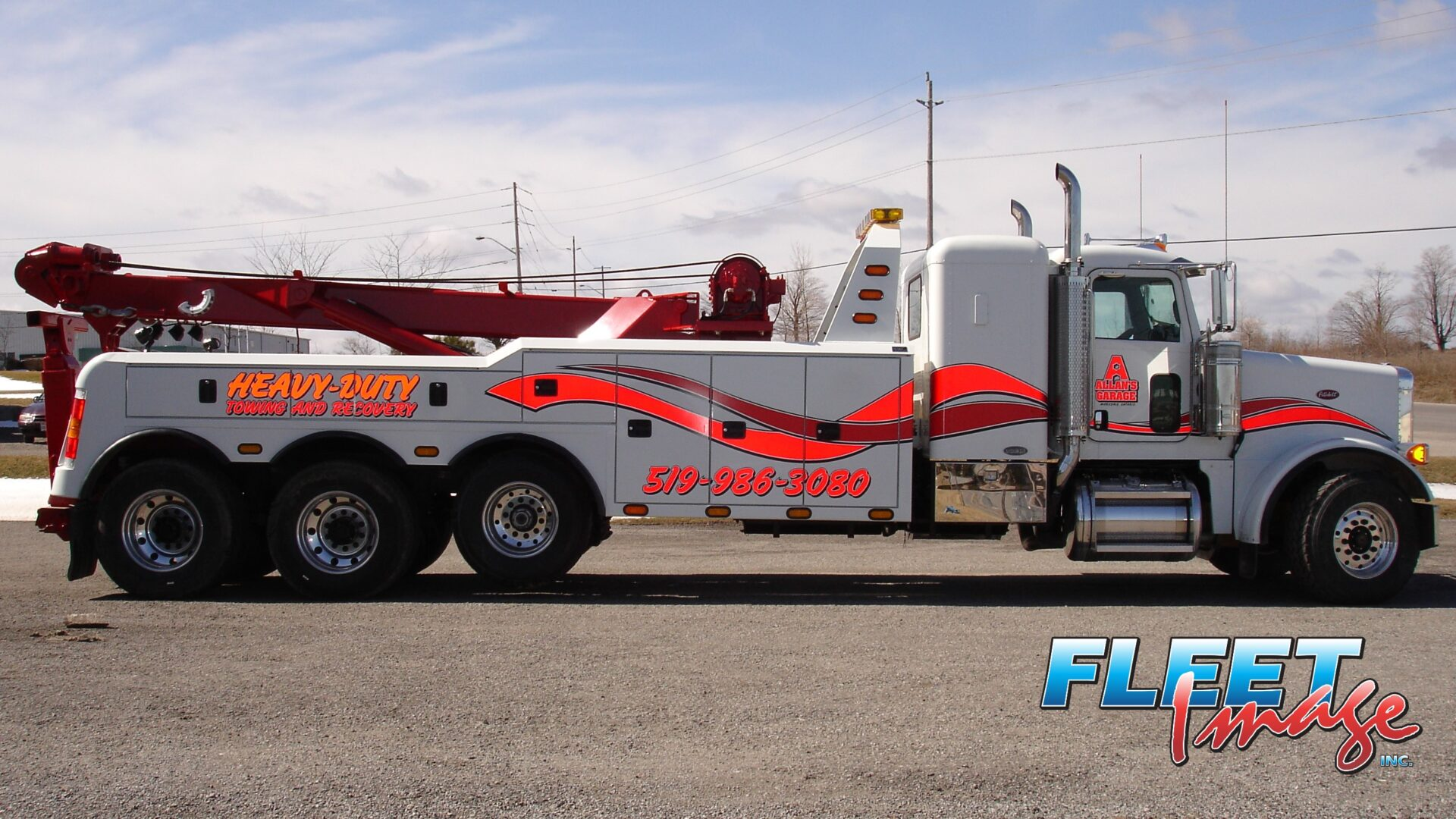 Heavy-Duty Towing and Recovery stickeron avehicle