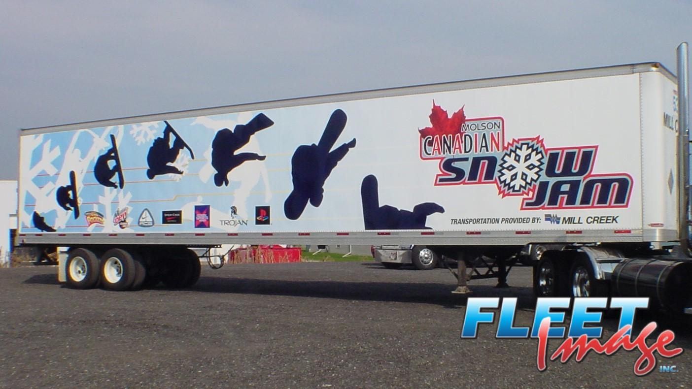Molson Canadian Snow Jam decal sticker on a truck
