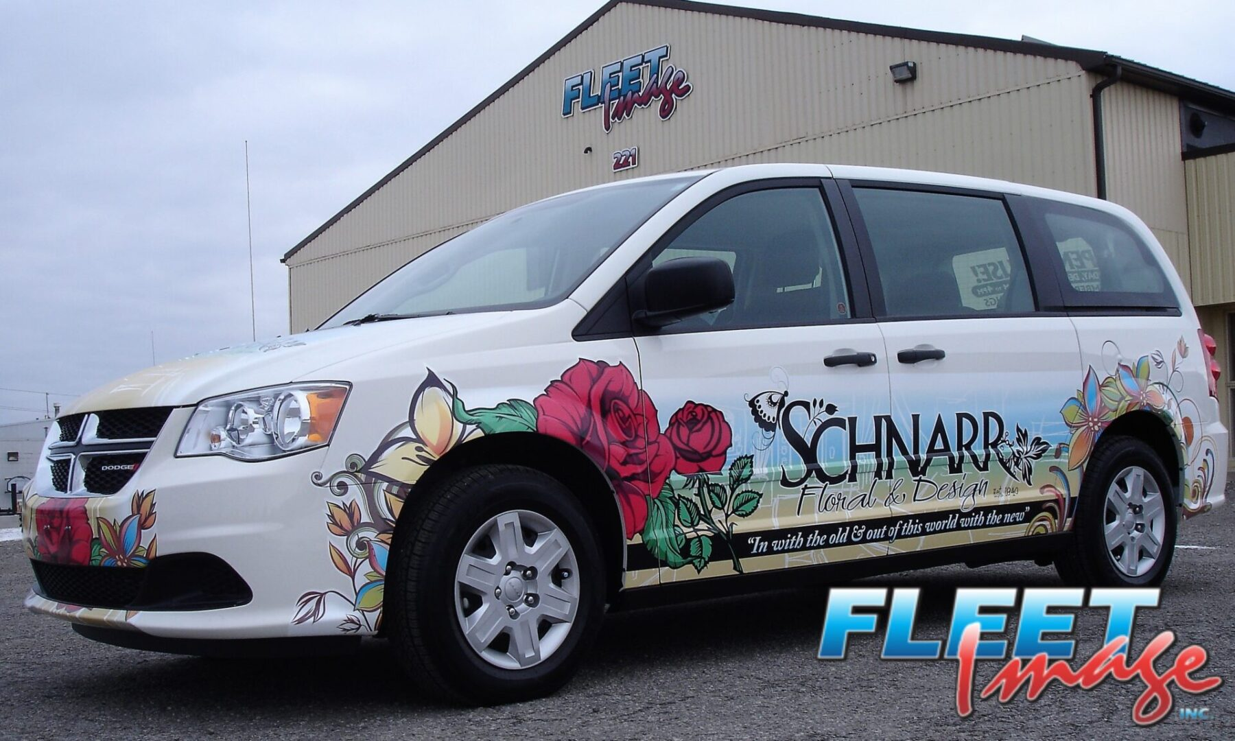 Vehicle with aSCHNARR FLORAL & DESIGN decal sticker