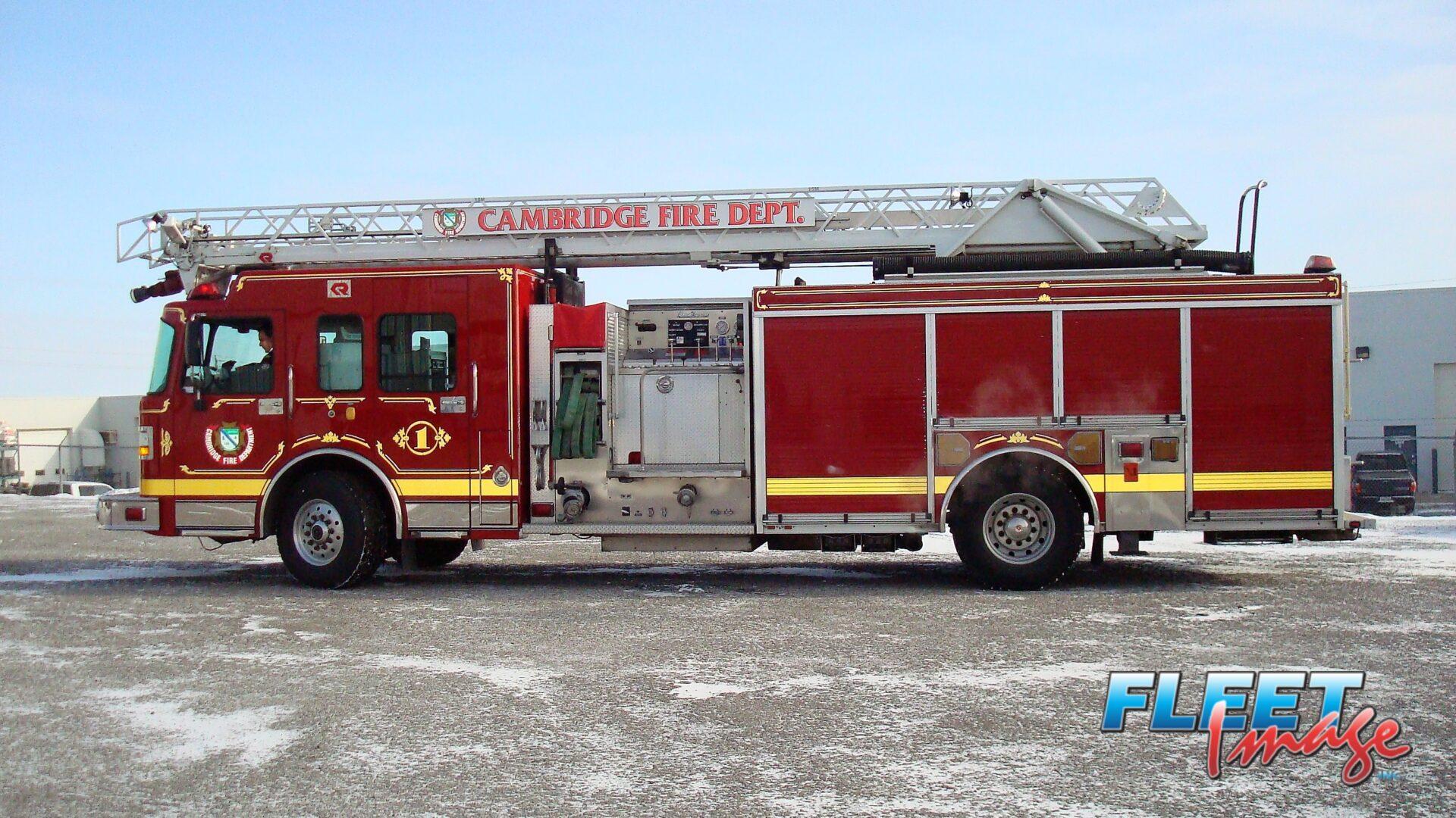 CAMBRIDGE FIRE DEPT. decal on a fire truck