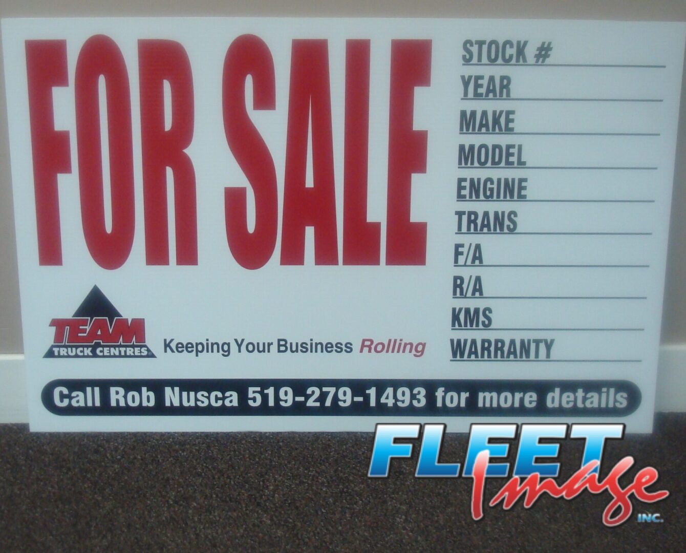 TEAM TRUCK CENTRES FOR SALE signage
