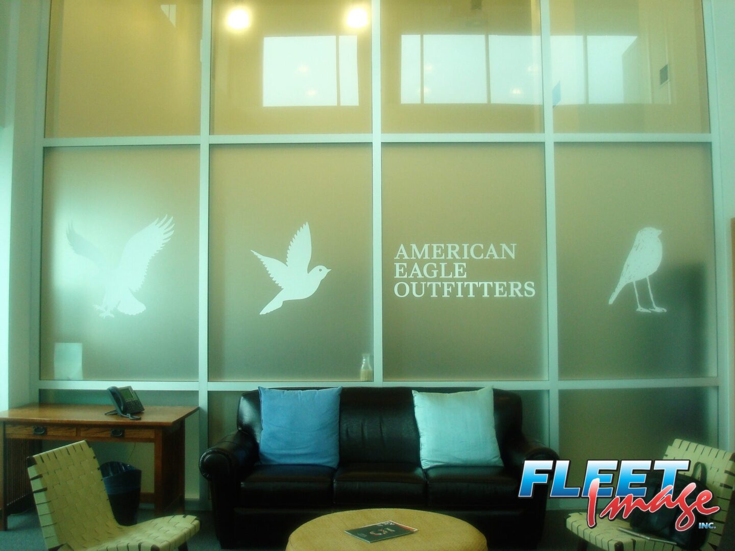 Perforated windows with American Eagle Outfitters logo