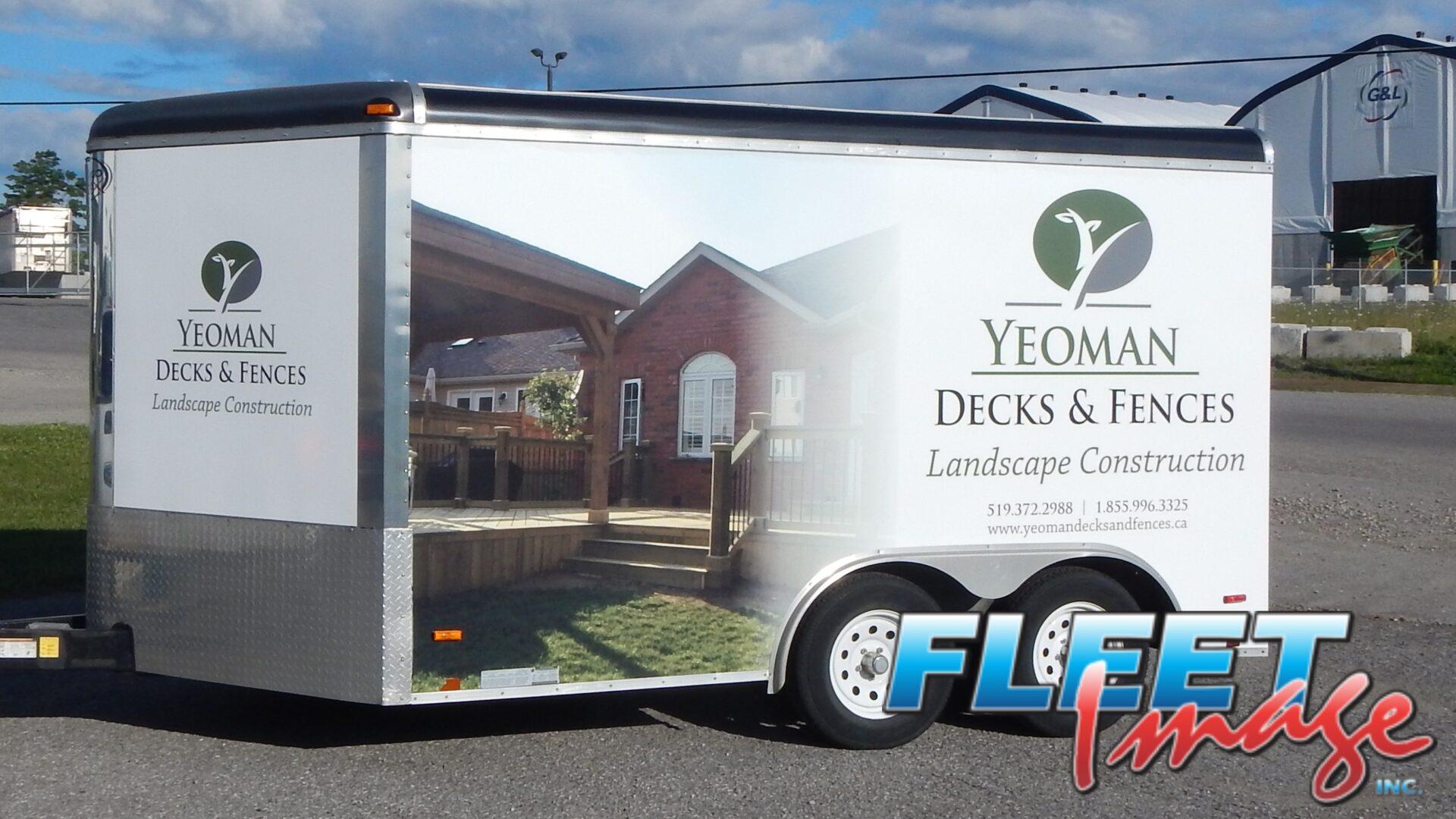 Yeoman Decks & Fences Landscape Construction decal sticker on a truck
