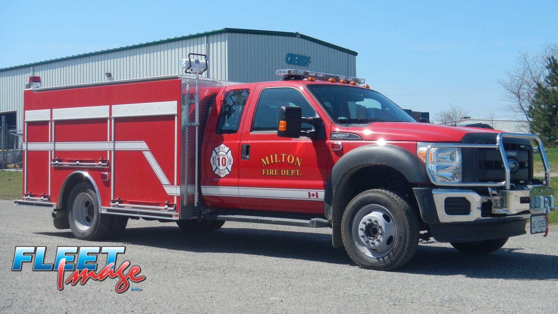 Milton Fire Dept. decal on a fire truck