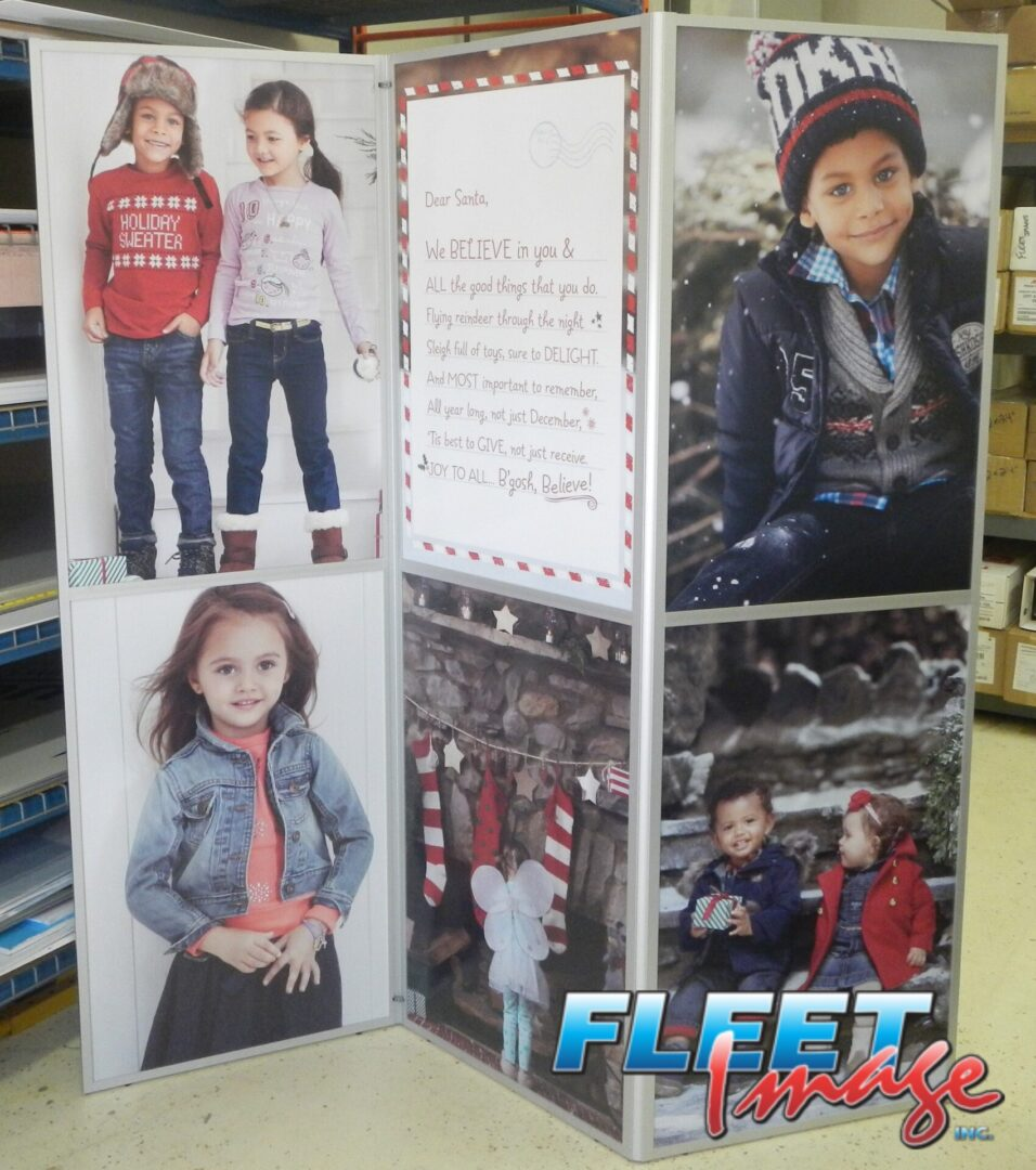 Fashionable little boys and girls signages
