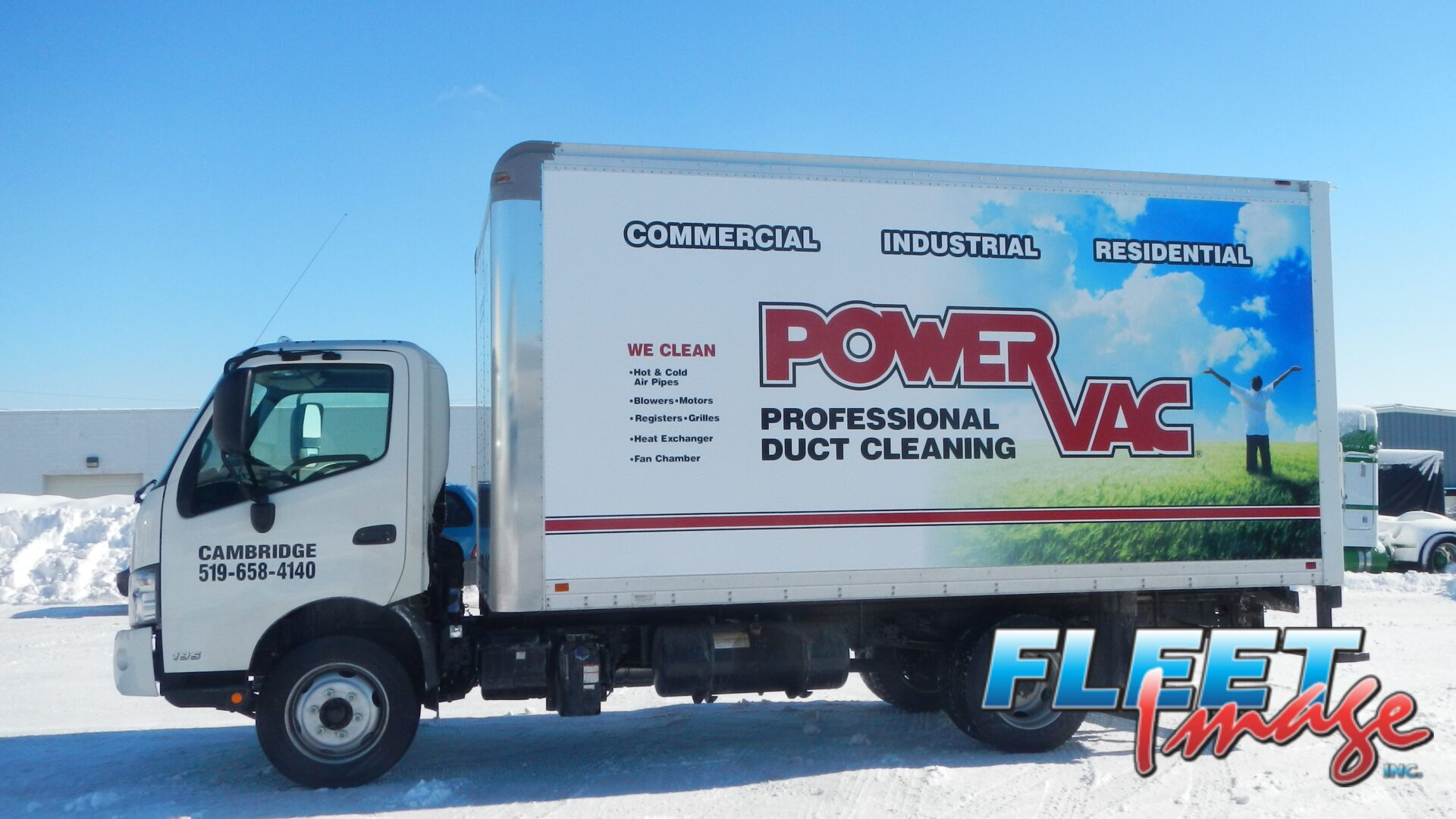 POWERVAC Professional Duct Cleaning decal sticker on a truck