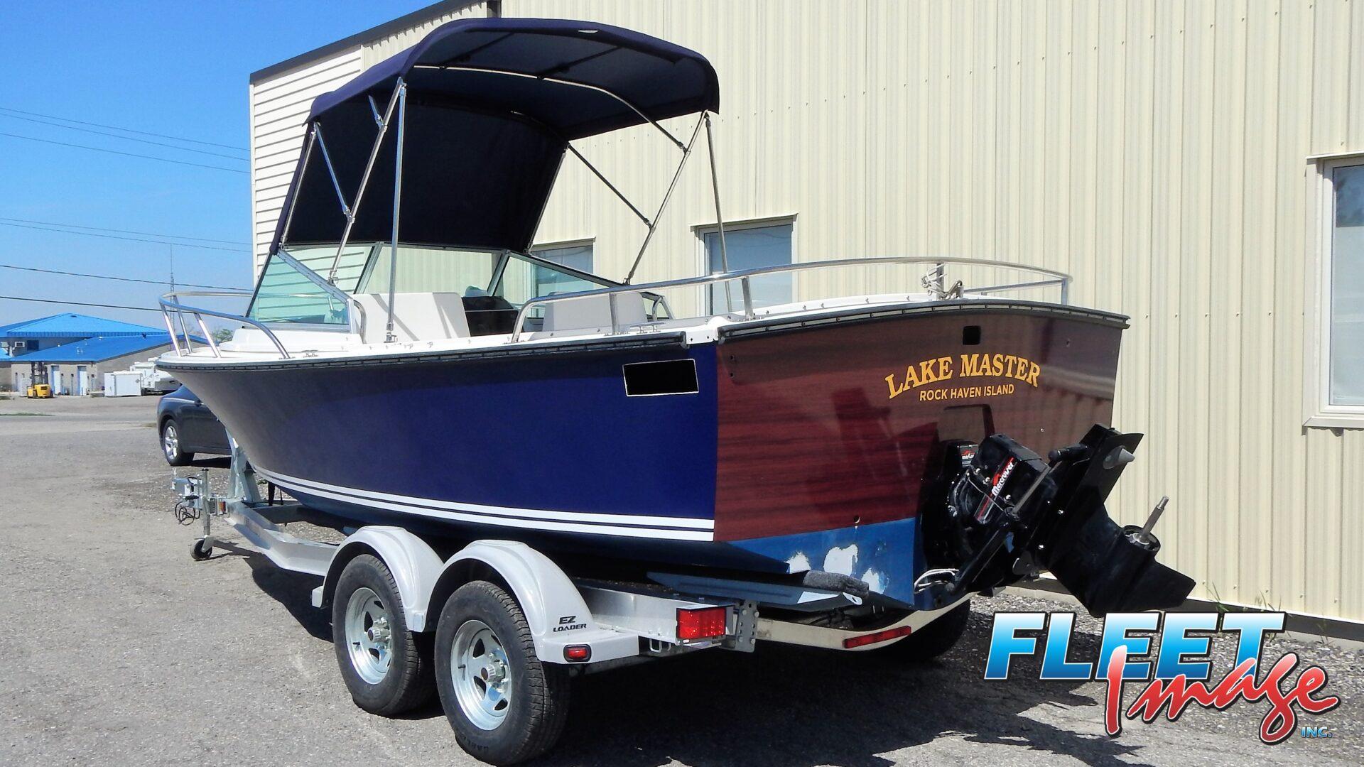 Lake Master Rock Haven Island sticker on a boat