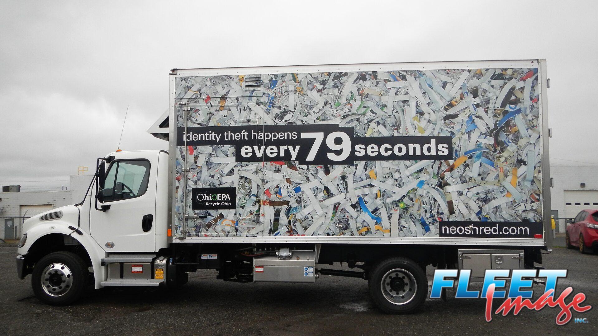 neoshred.com decal sticker on a truck