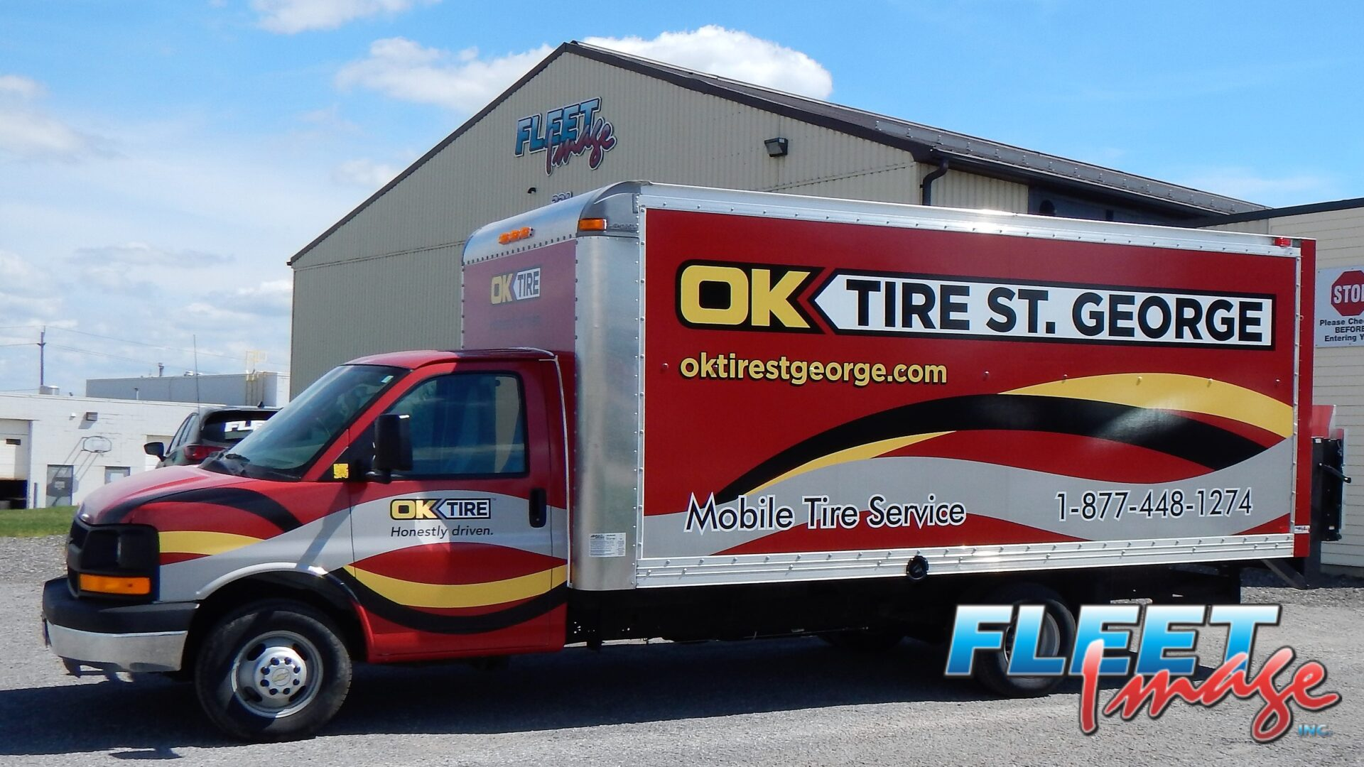 OK TIRE ST. GEORGE decal sticker on a truck