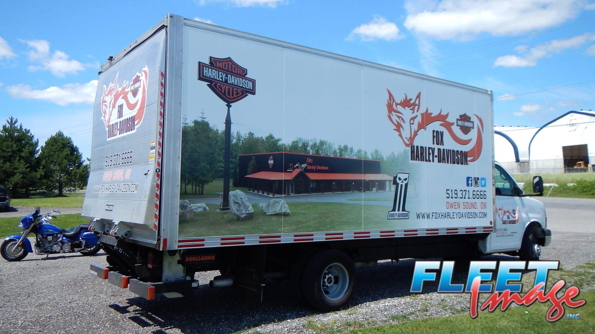 FOX HARLEY-DAVIDSONdecal sticker on a truck