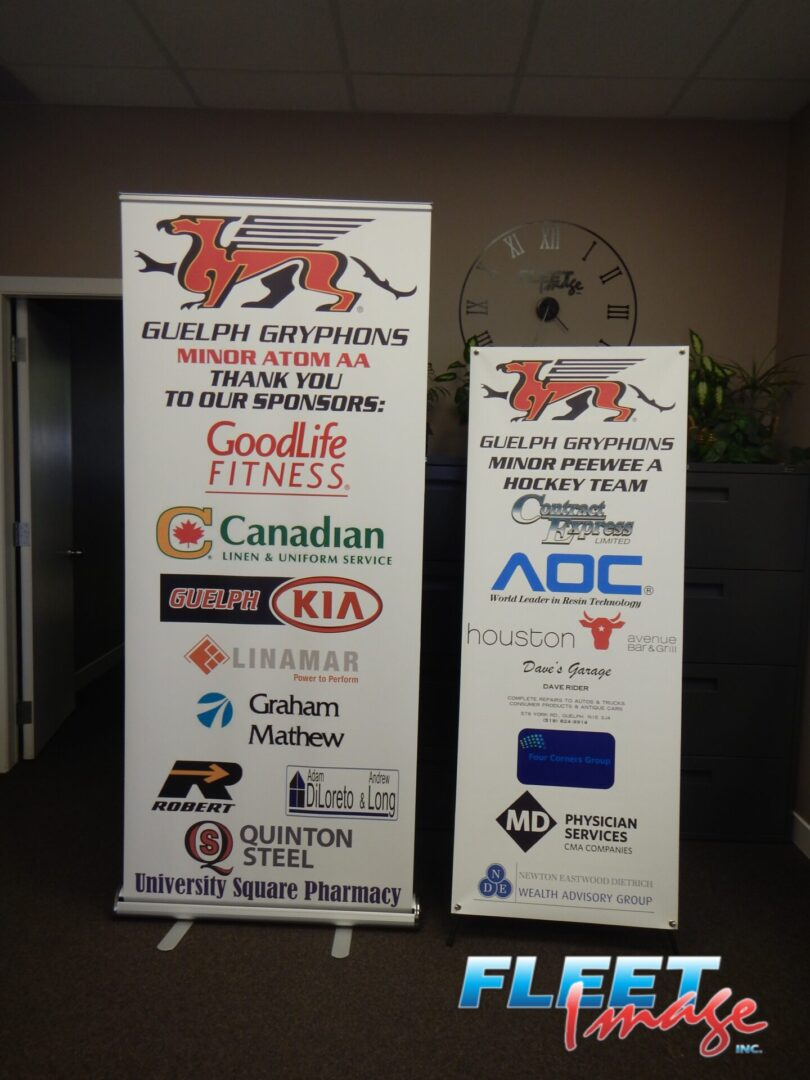 GUELPH GRYPHONS roll-up banners
