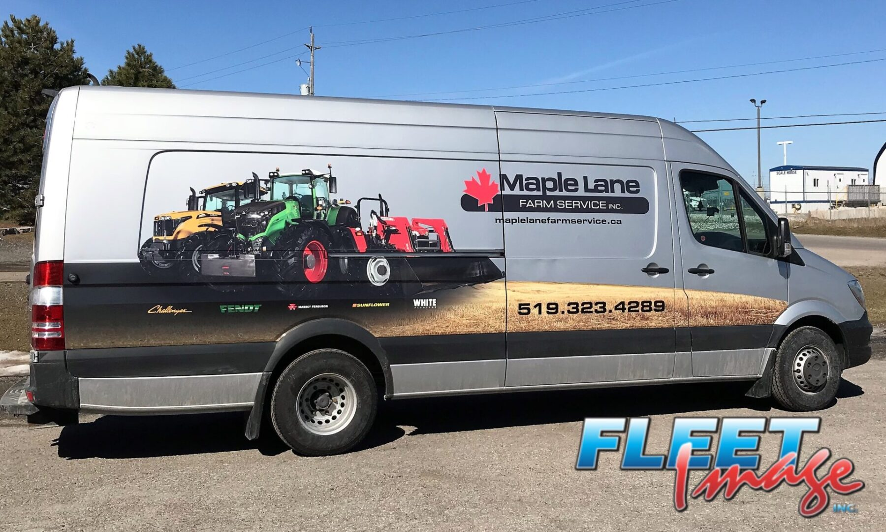 Vehicle with aMaple Lane Farm Service Inc. decal sticker