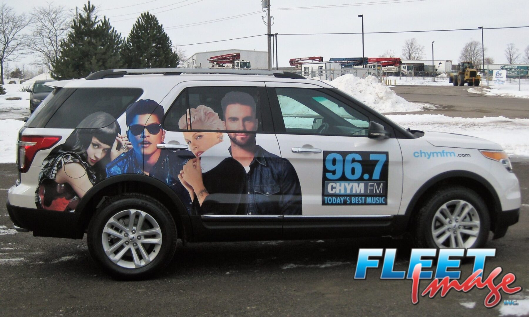 Vehicle with a 96.7 CHYM FM decal sticker