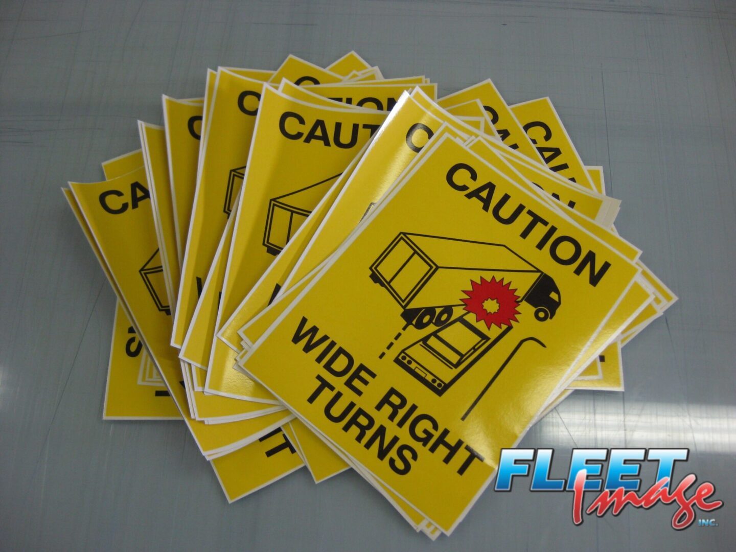 CAUTION WIDE RIGHT TURNS stickers