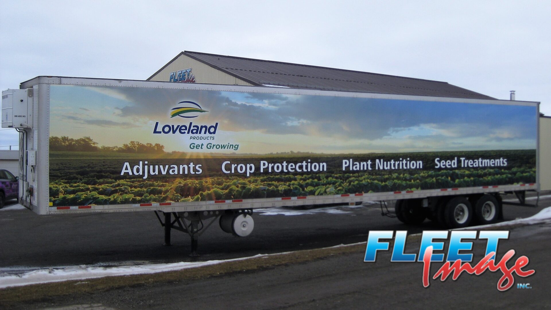Loveland Products Get Growing decal sticker on a truck