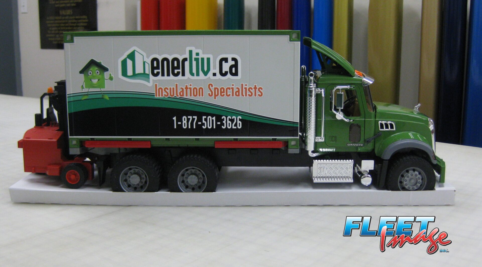 nerliv.ca Insulation Specialists sticker on a toy truck