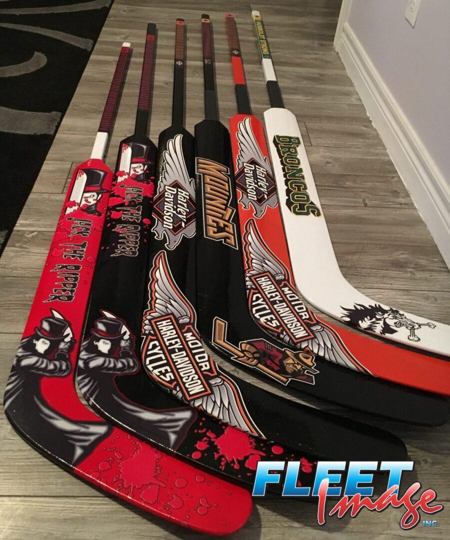 Customized decal stickers on ice hockey sticks