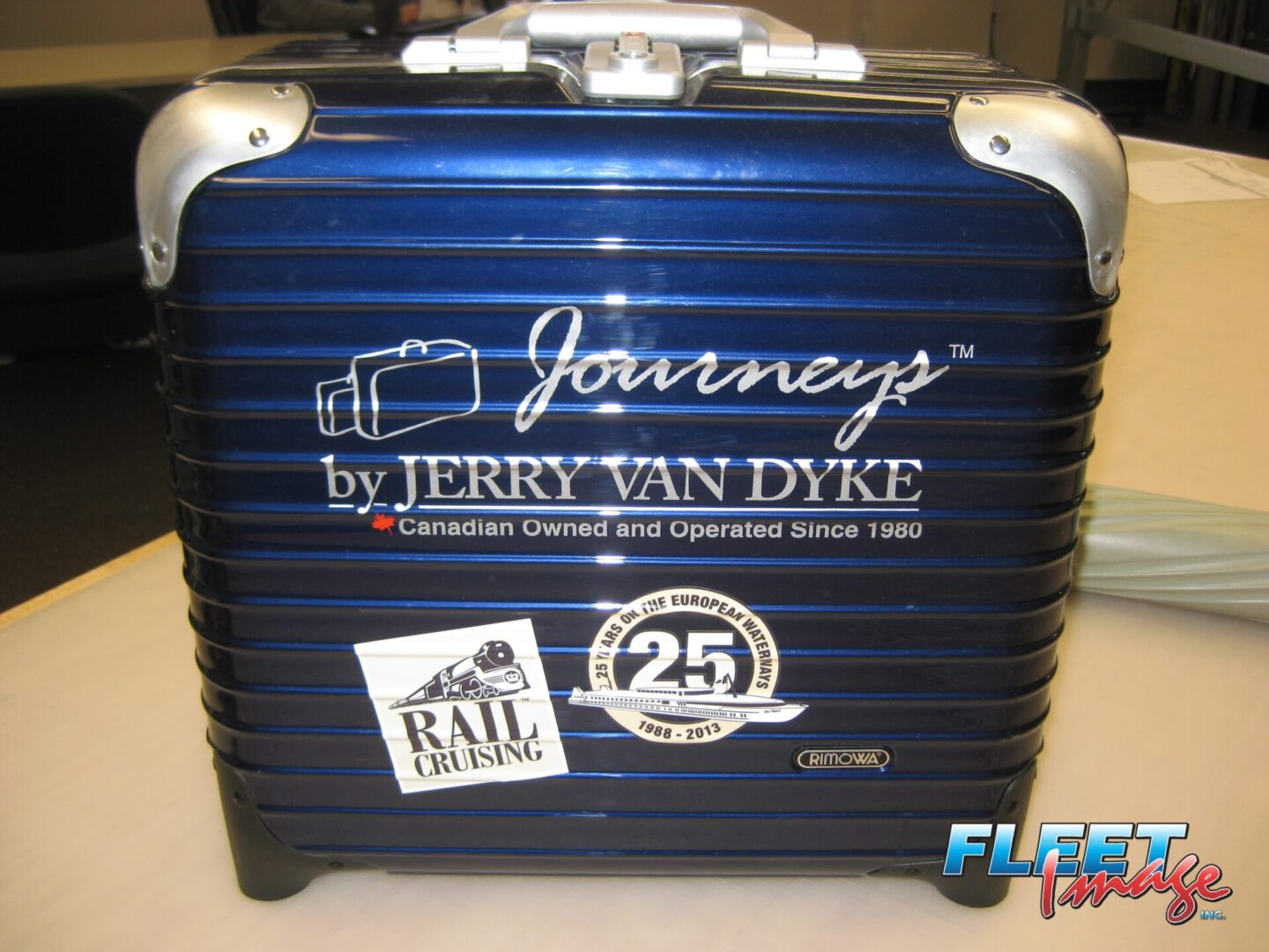 Customized decal stickers on a suitcase