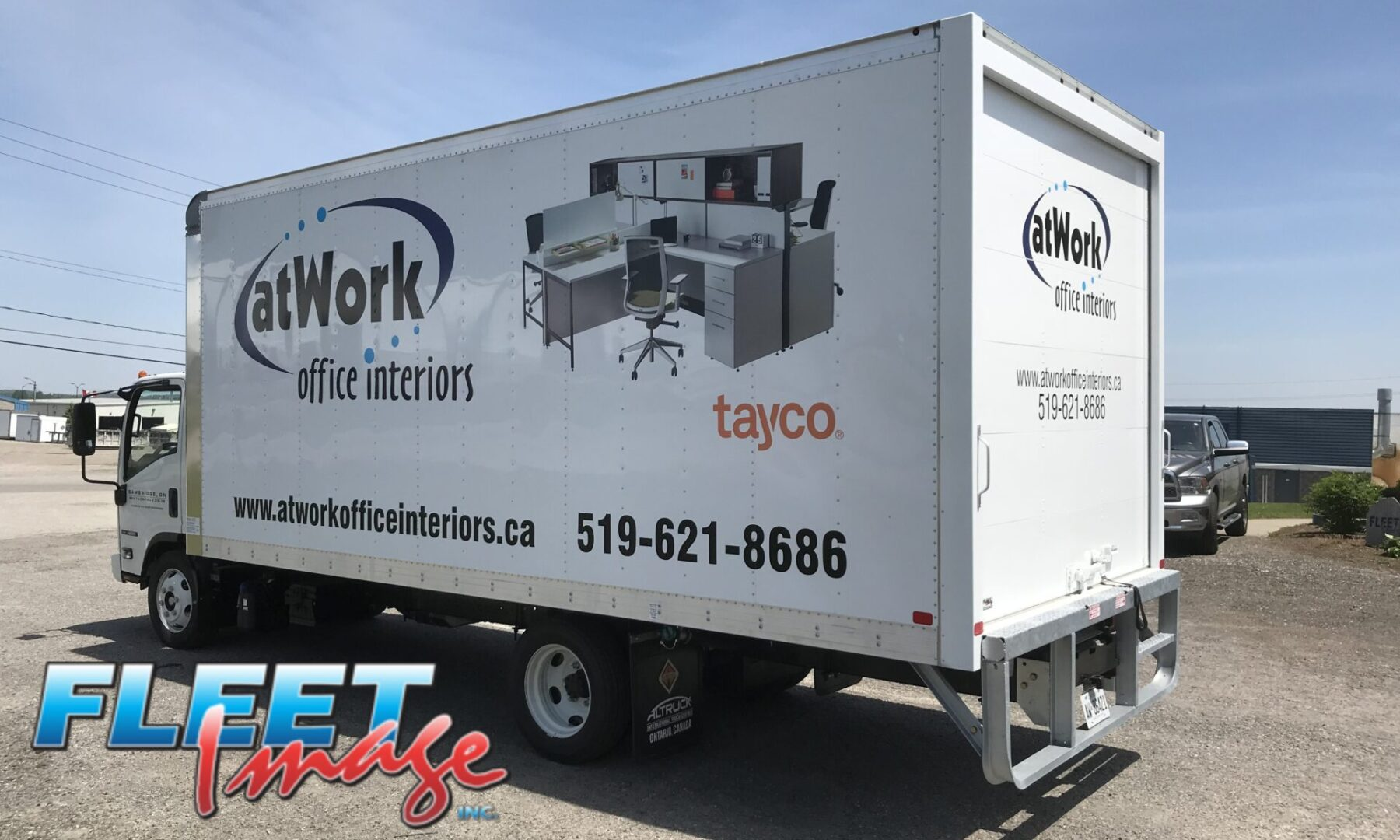 atwork office interiors decal sticker on a truck