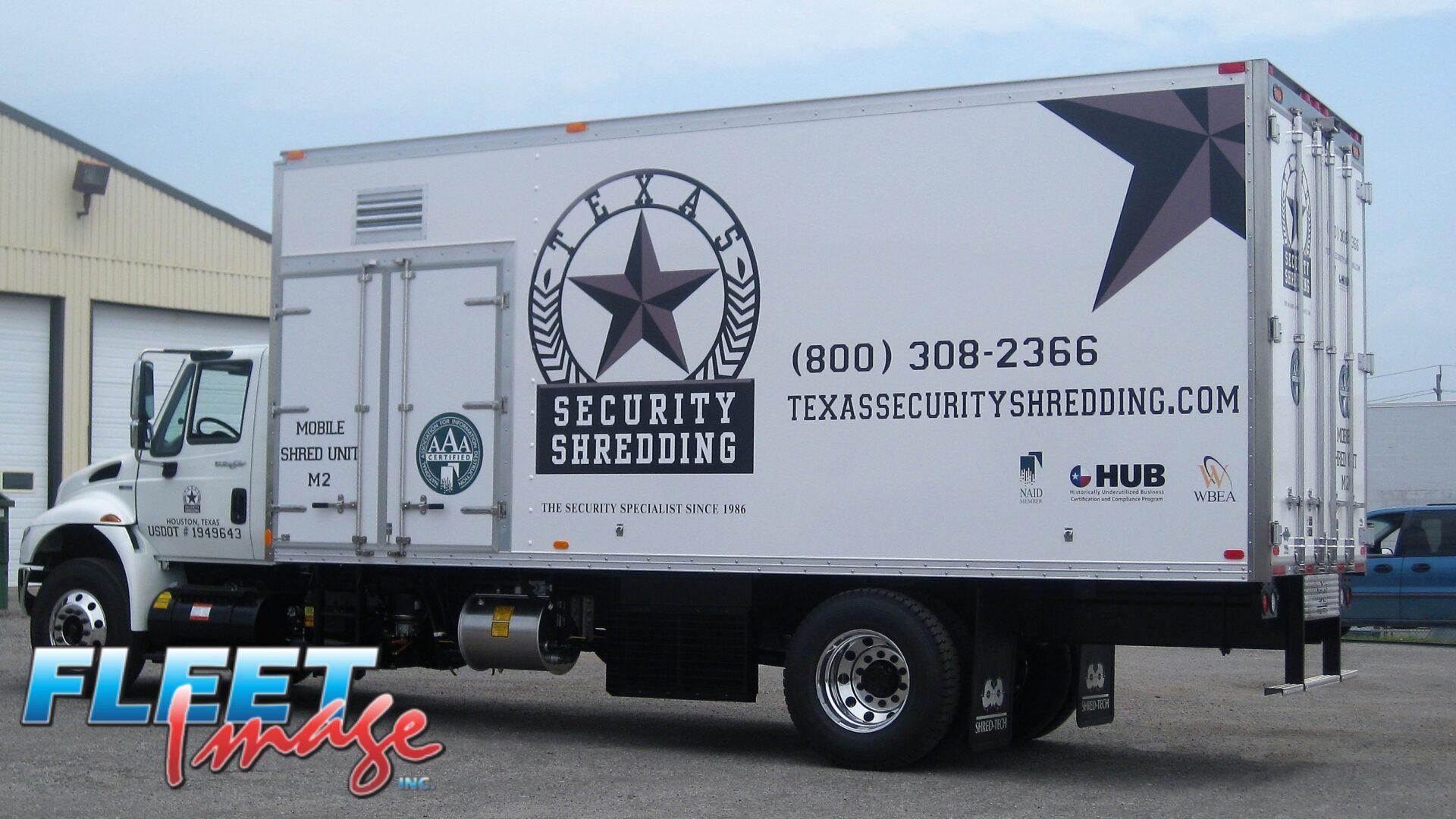 TEXAS SECURITY SHREDDING decal sticker on a truck