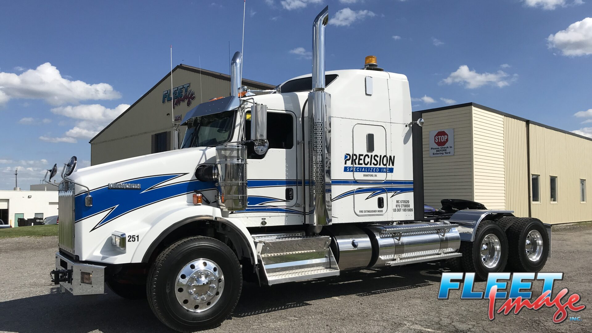 Precision Specialized Inc. blue and white truck