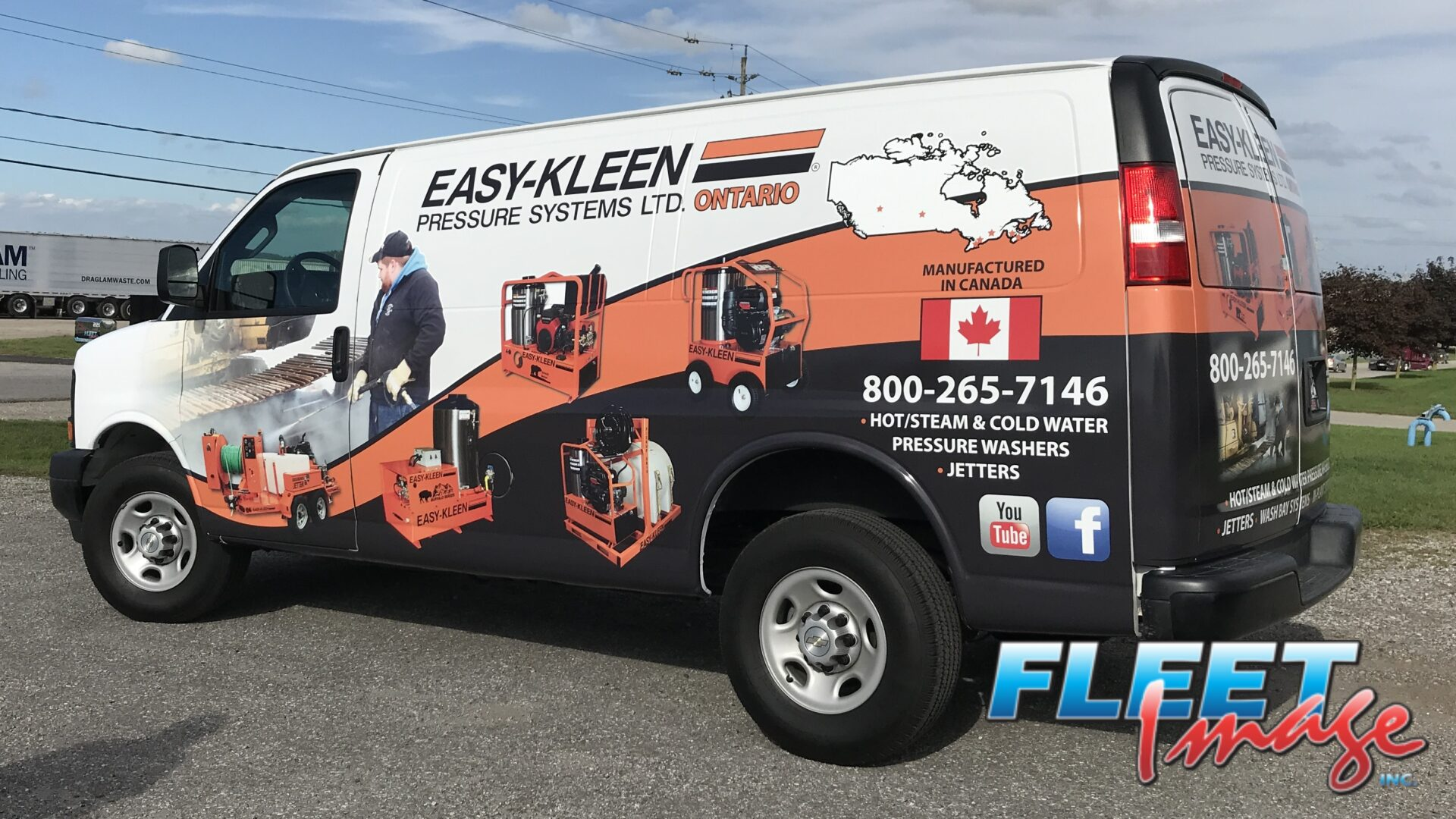 Vehicle with an EASY-KLEEN PRESSURE SYSTEMS LYD. ONTARIO decal sticker