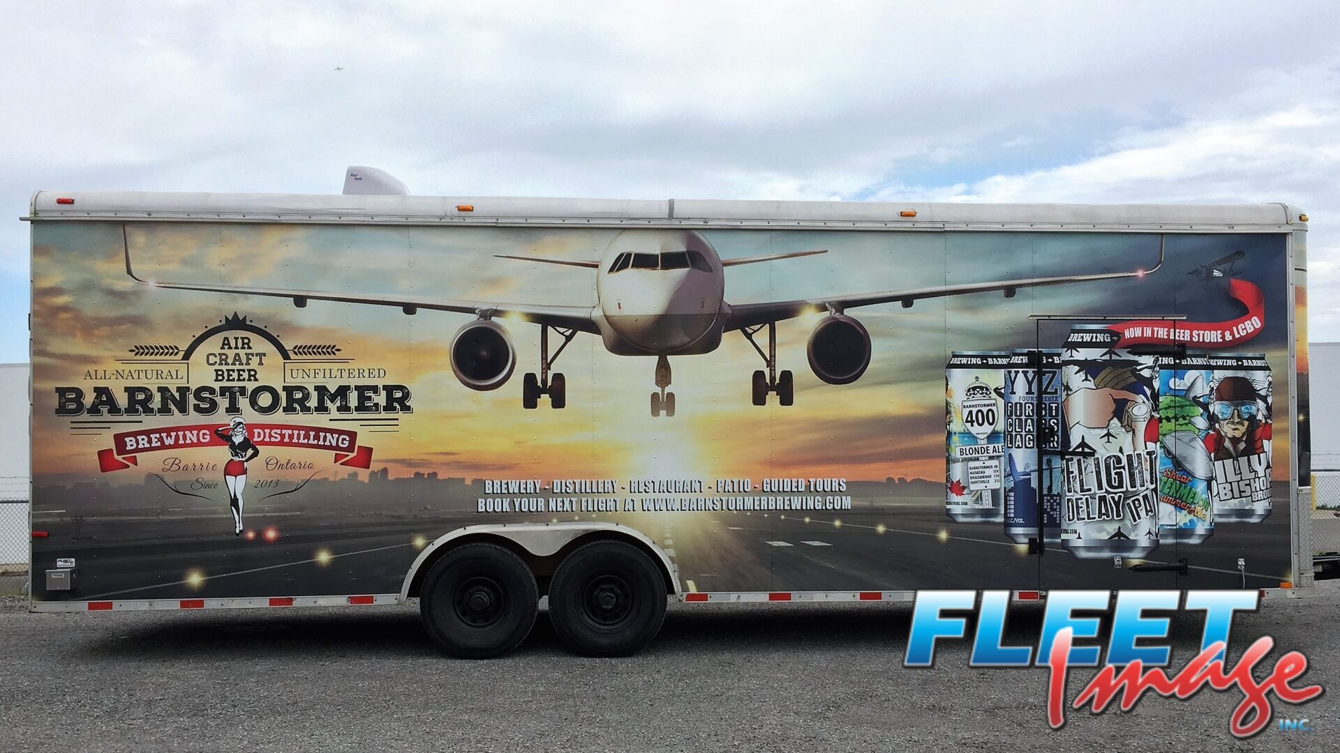 Aircraft Beer Barnstormer decal sticker on a truck