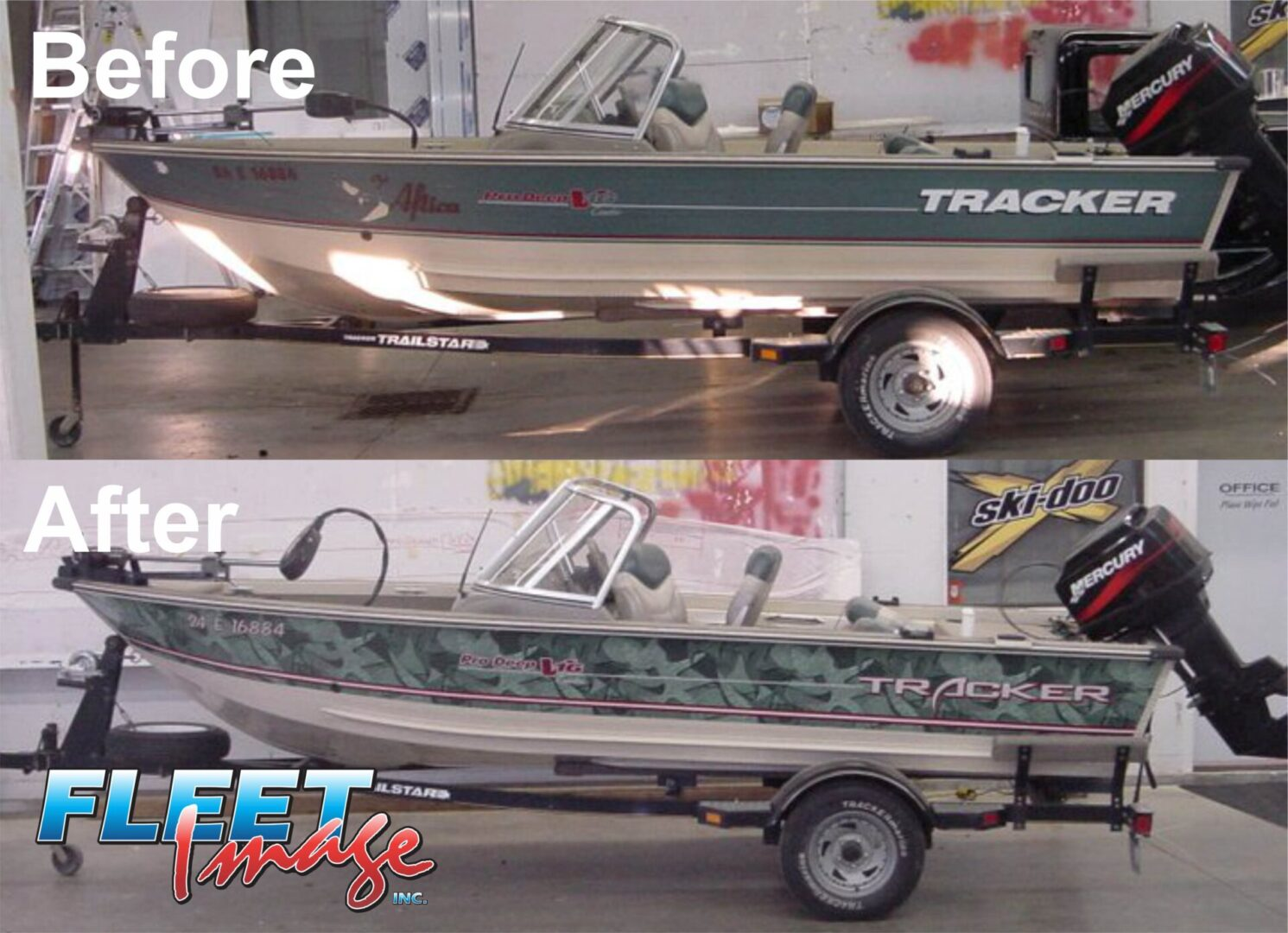 Before and after Tracker boat