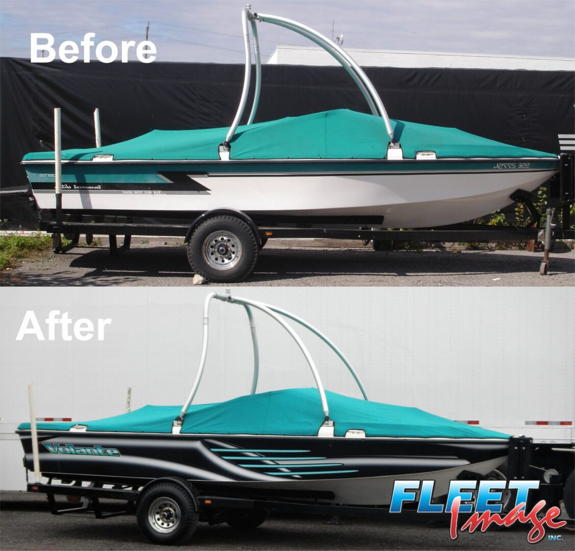 Before and after Volante sticker on a boat