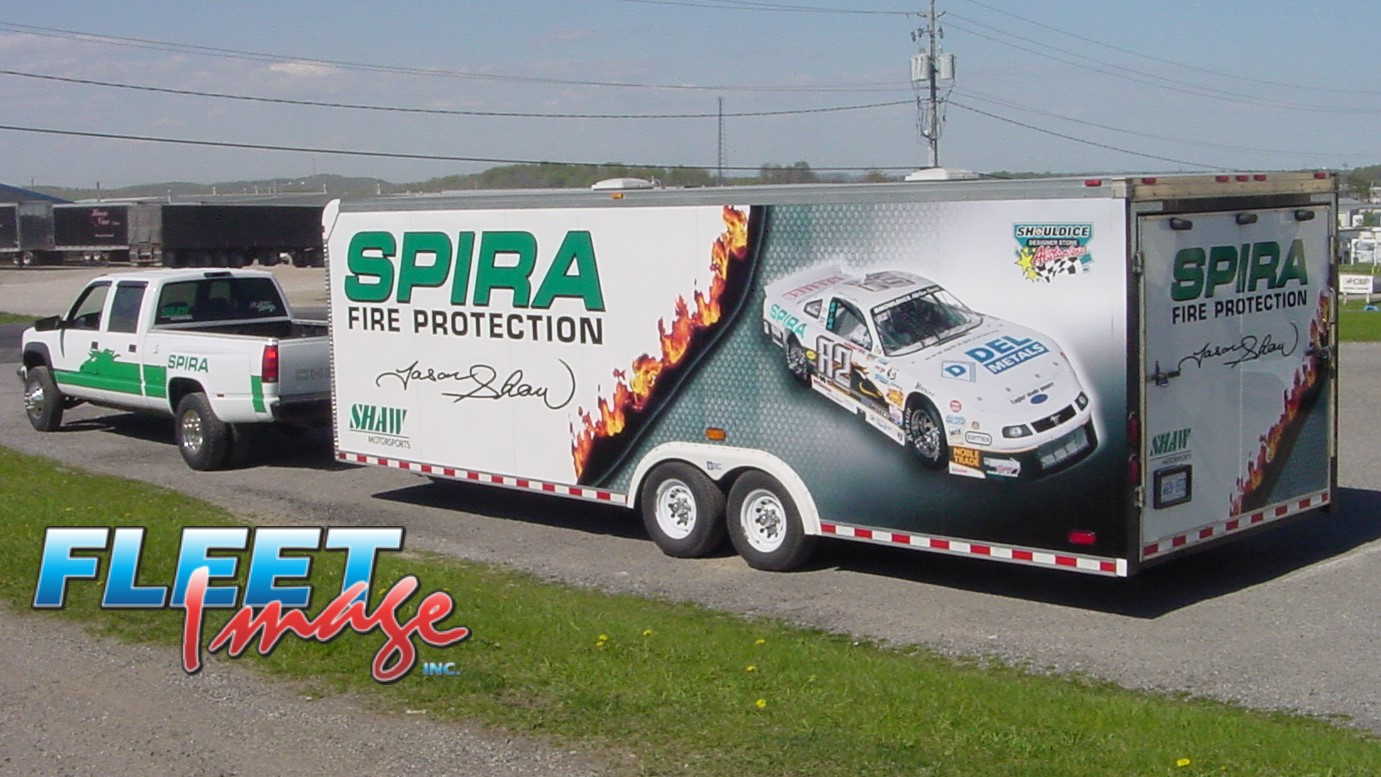 SPIRA FIRE PROTECTION decal sticker on a truck
