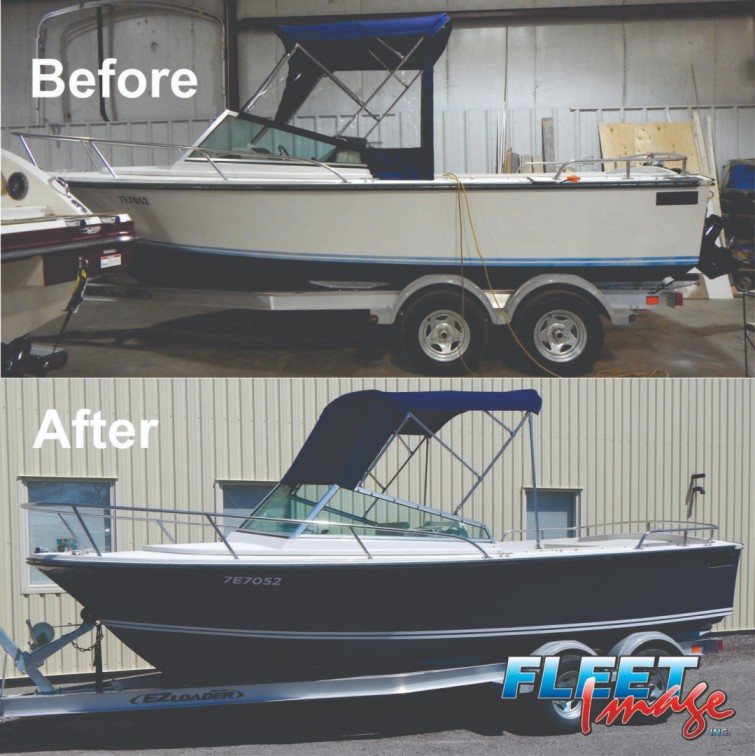 Before and after black boat